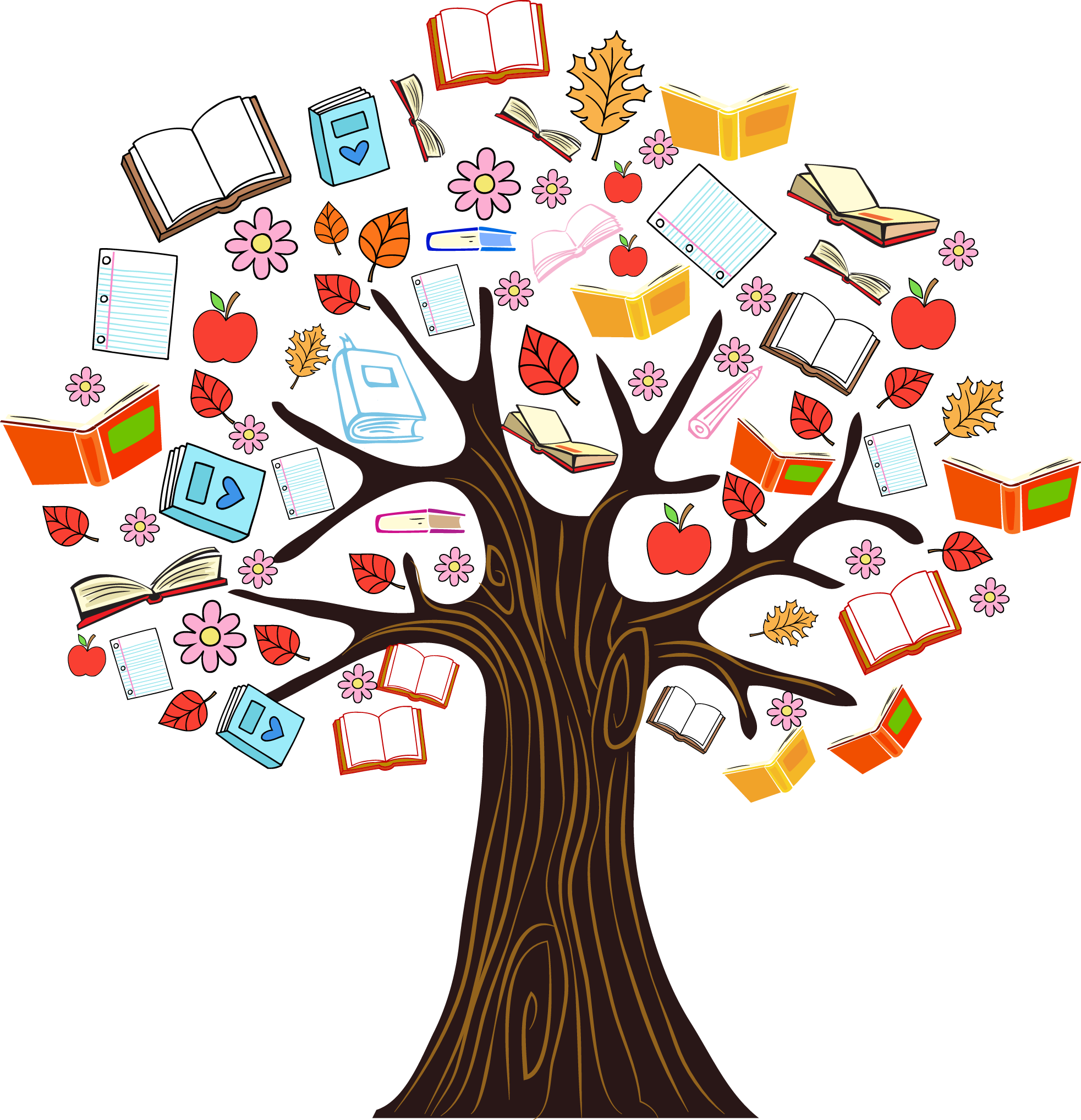 Trees clipart book. Reading under a tree