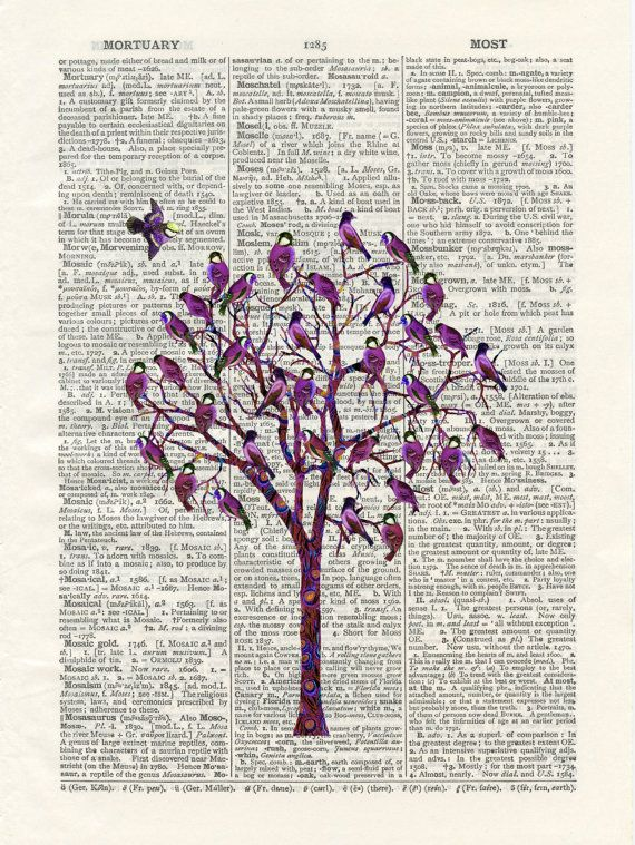 Trees clipart book. Bird tree upcycled vintage