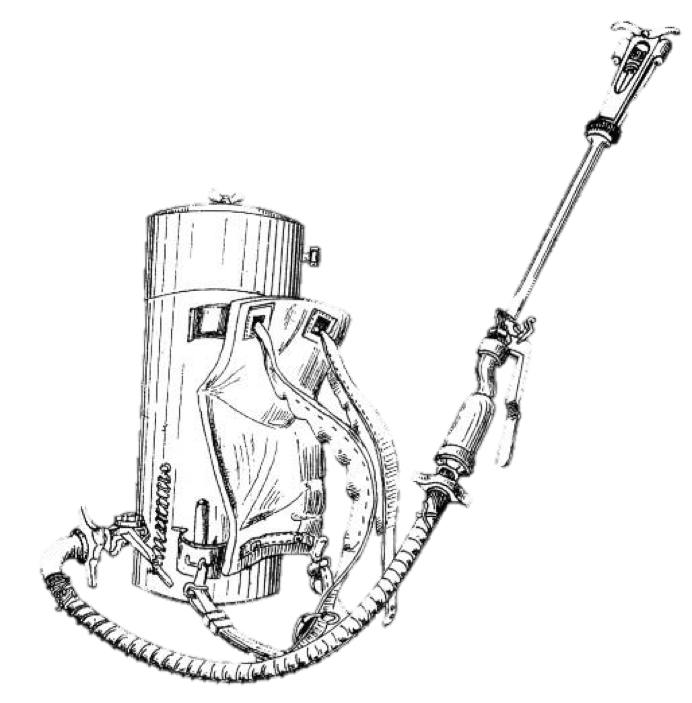 Trench drawing flamethrower. World war