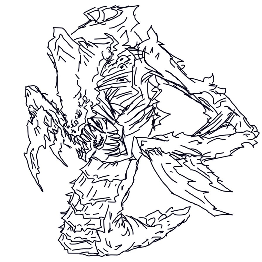 Trench drawing hydra. Doodle by scissorwell on