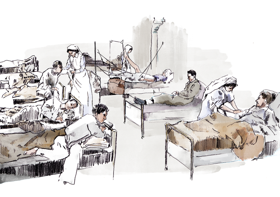 Trench drawing war zone. Diary of a nurse