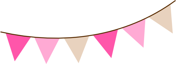 Triangle banner png. Angled pink brown bunting