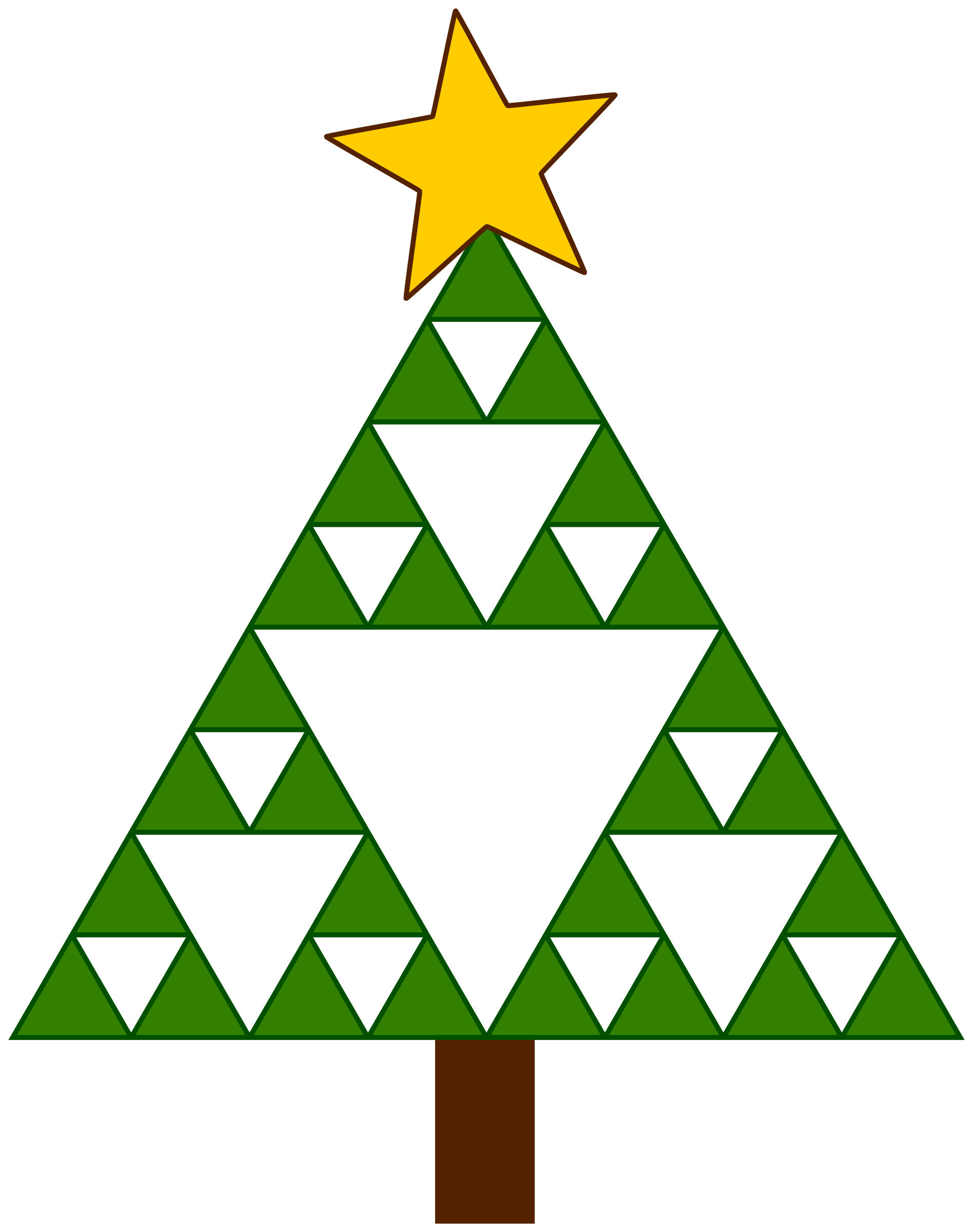 Triangle clip christmas tree clipart. Pencil and in color
