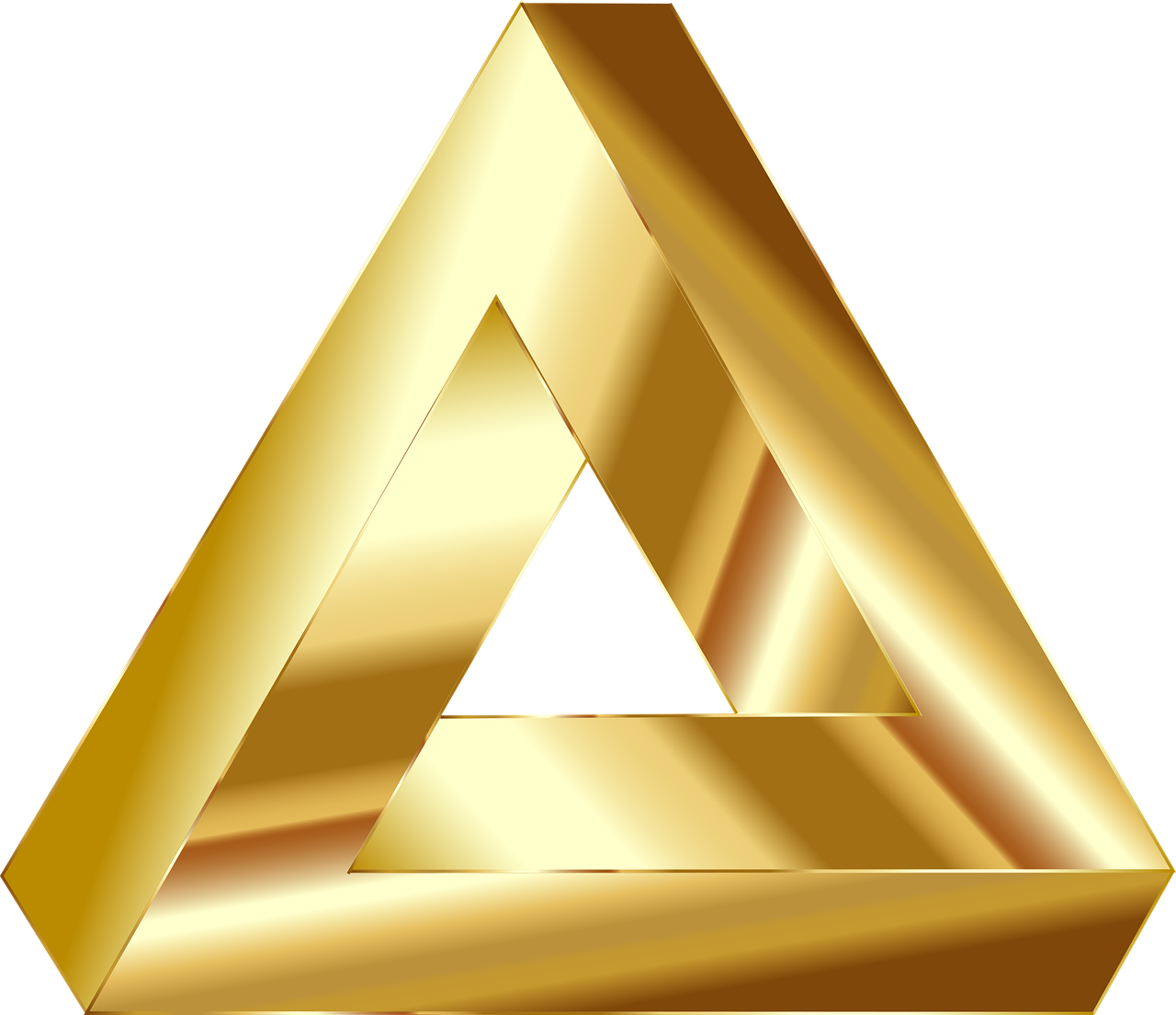 Triangle clip gold. Penrose optical illusion abstract