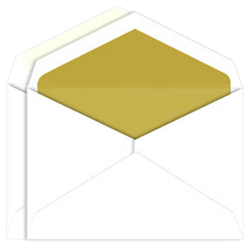Envelope transparent foil. Gold lined inner outer