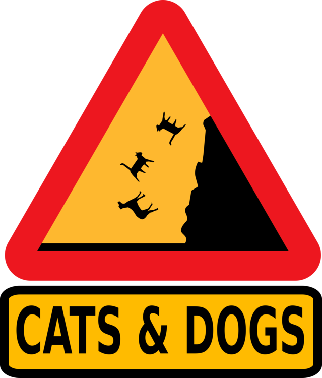 Triangle clip penguin. Traffic sign warning cats