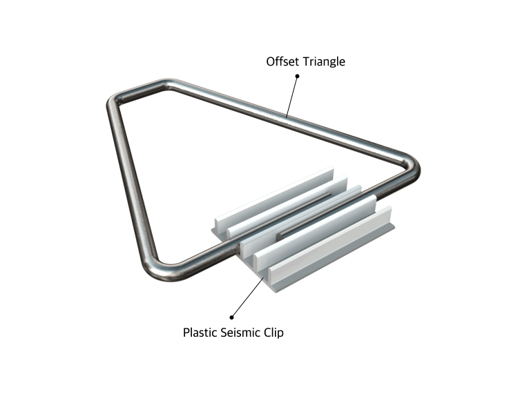 Triangle clip stainless steel. Offset wire bond ask