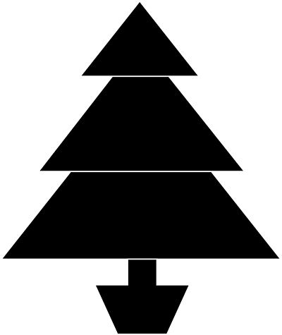 Triangle clipart tree. Squirrel in black and