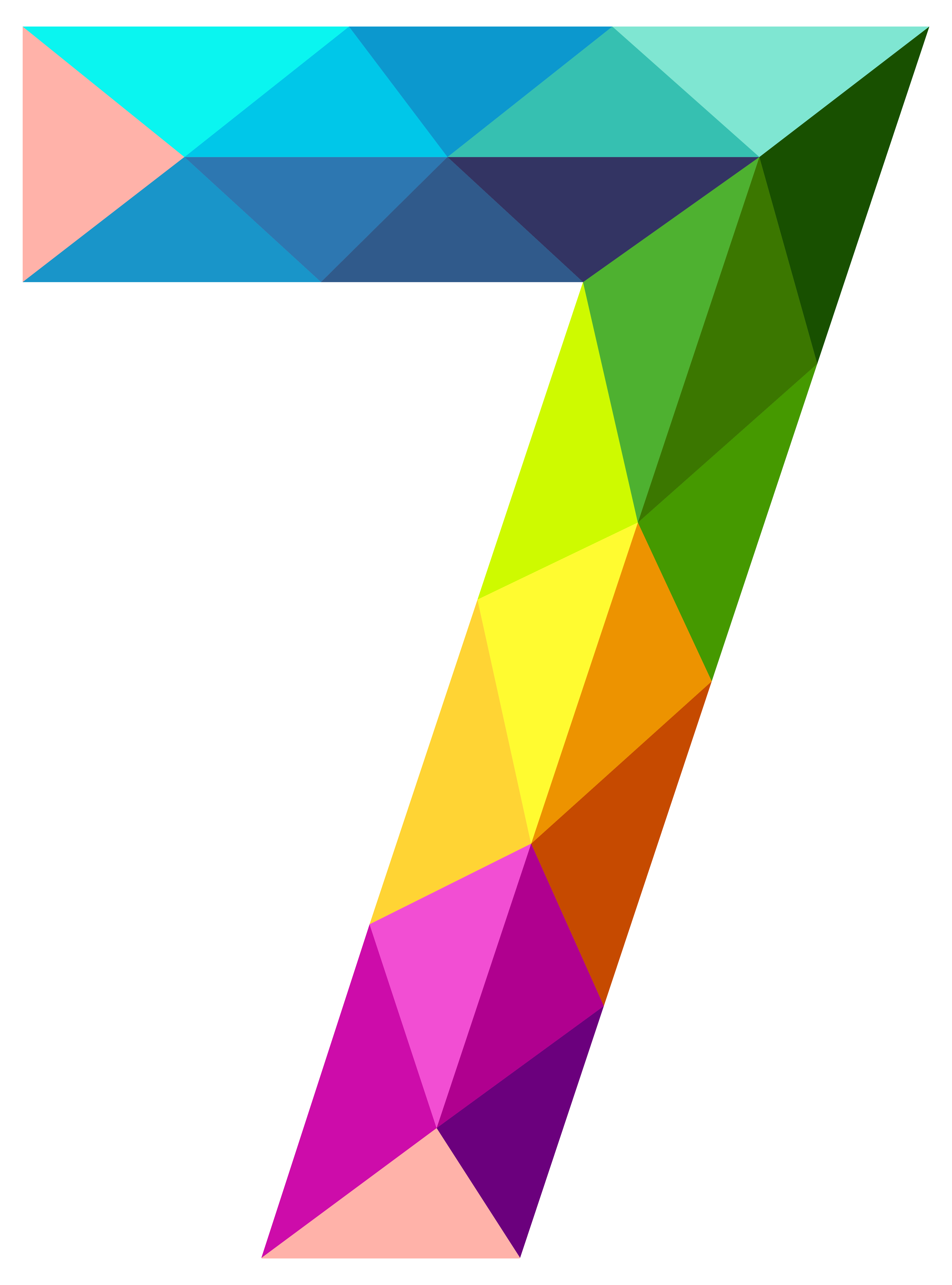 Vector triangles triangle pattern. Colourful number seven png
