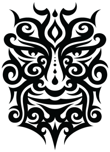 Tattoo tribal png. Face isolated stock photo