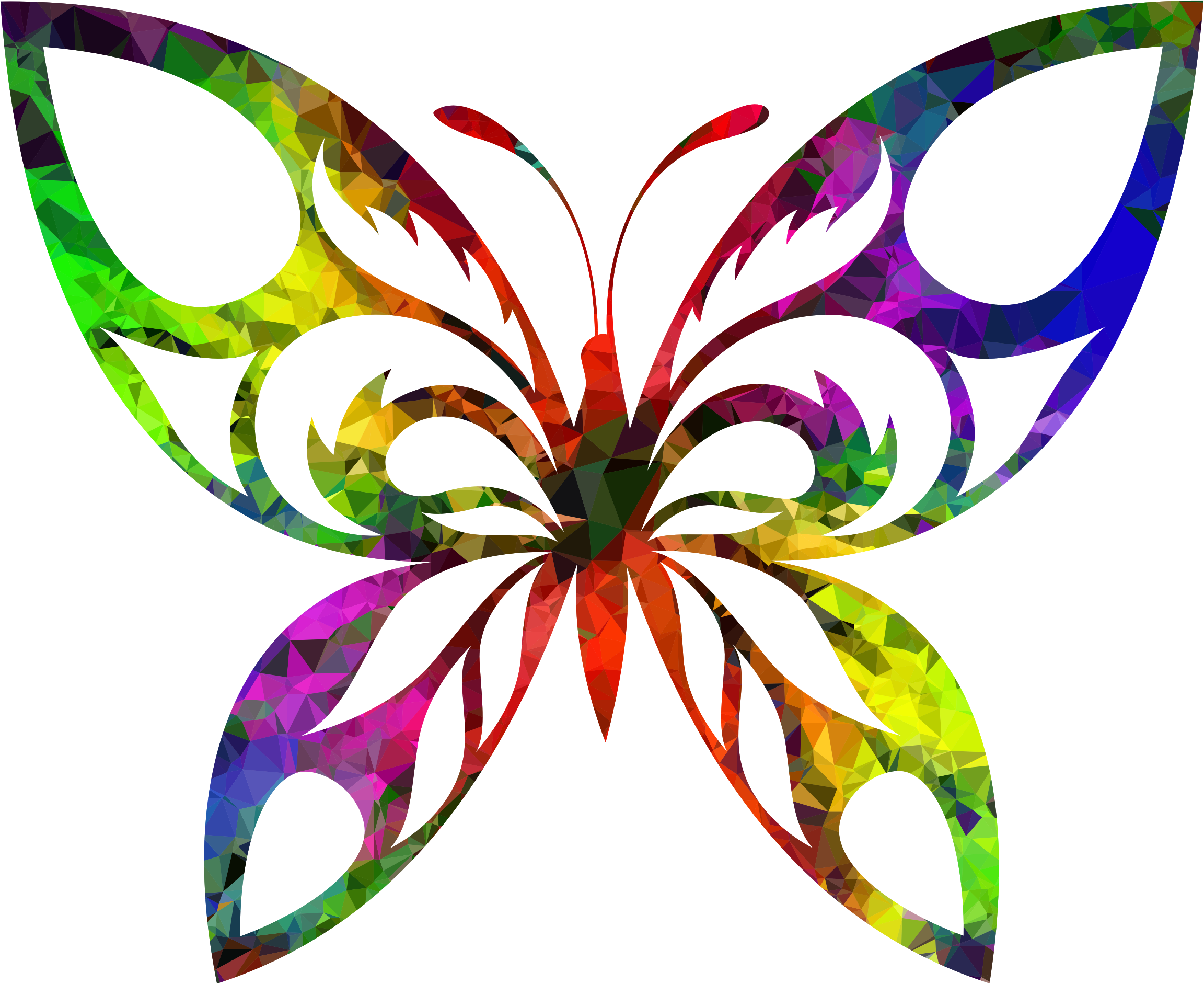 Tribal butterfly png. Multispectral silhouette icons free