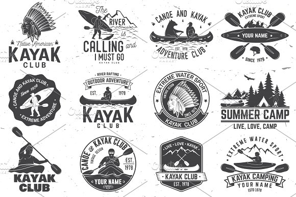Tribal clipart canoe. Set of and kayak