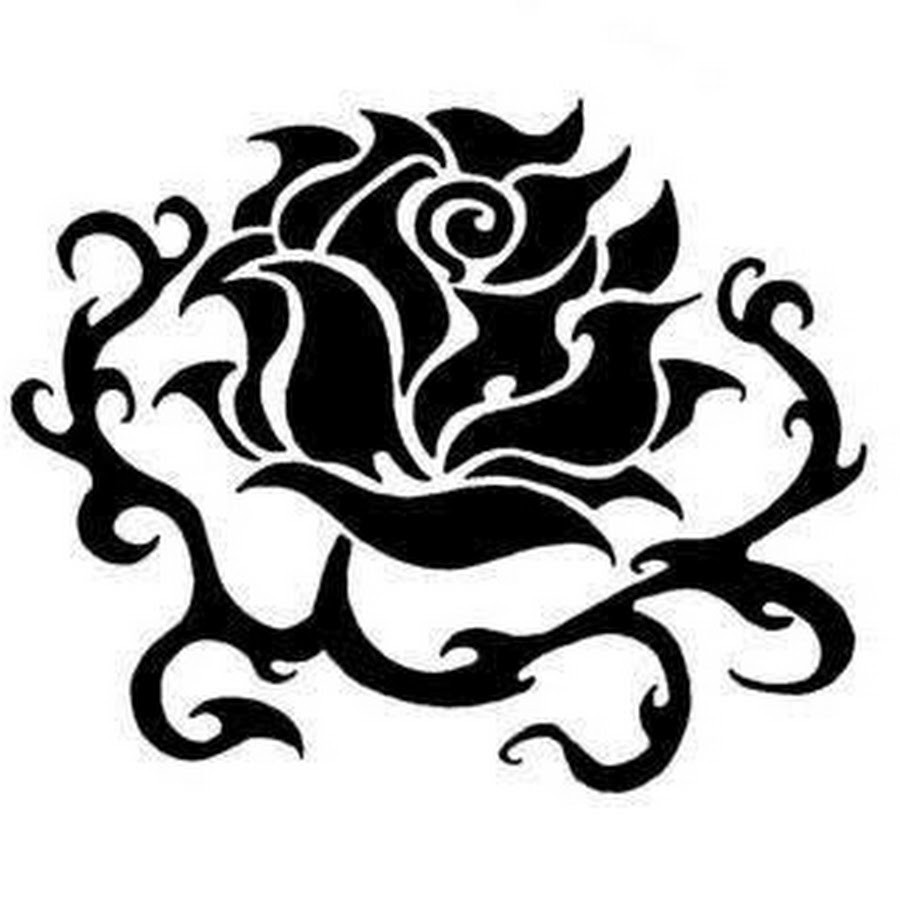 Tribal clipart elegant. Black rose tattoo stencil