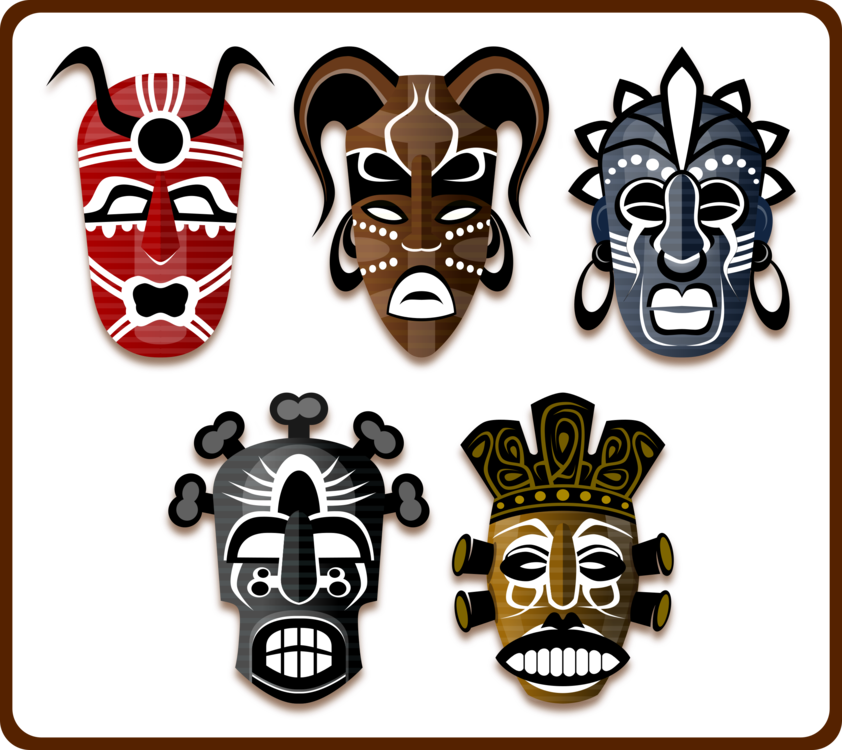 Tribal clipart hat. Traditional african masks tribe