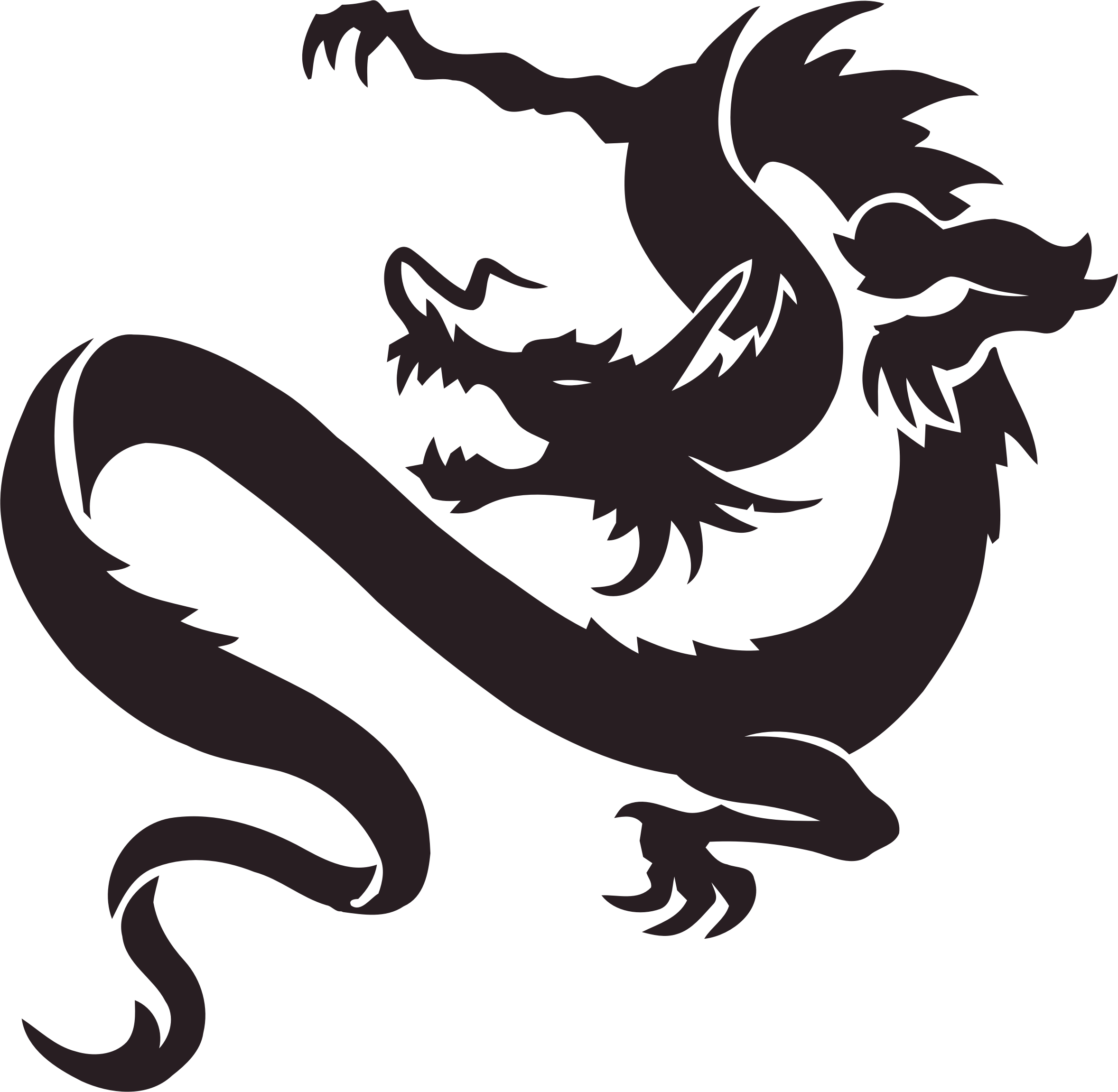 Tribal transparent silhouette. Dragon icons png free
