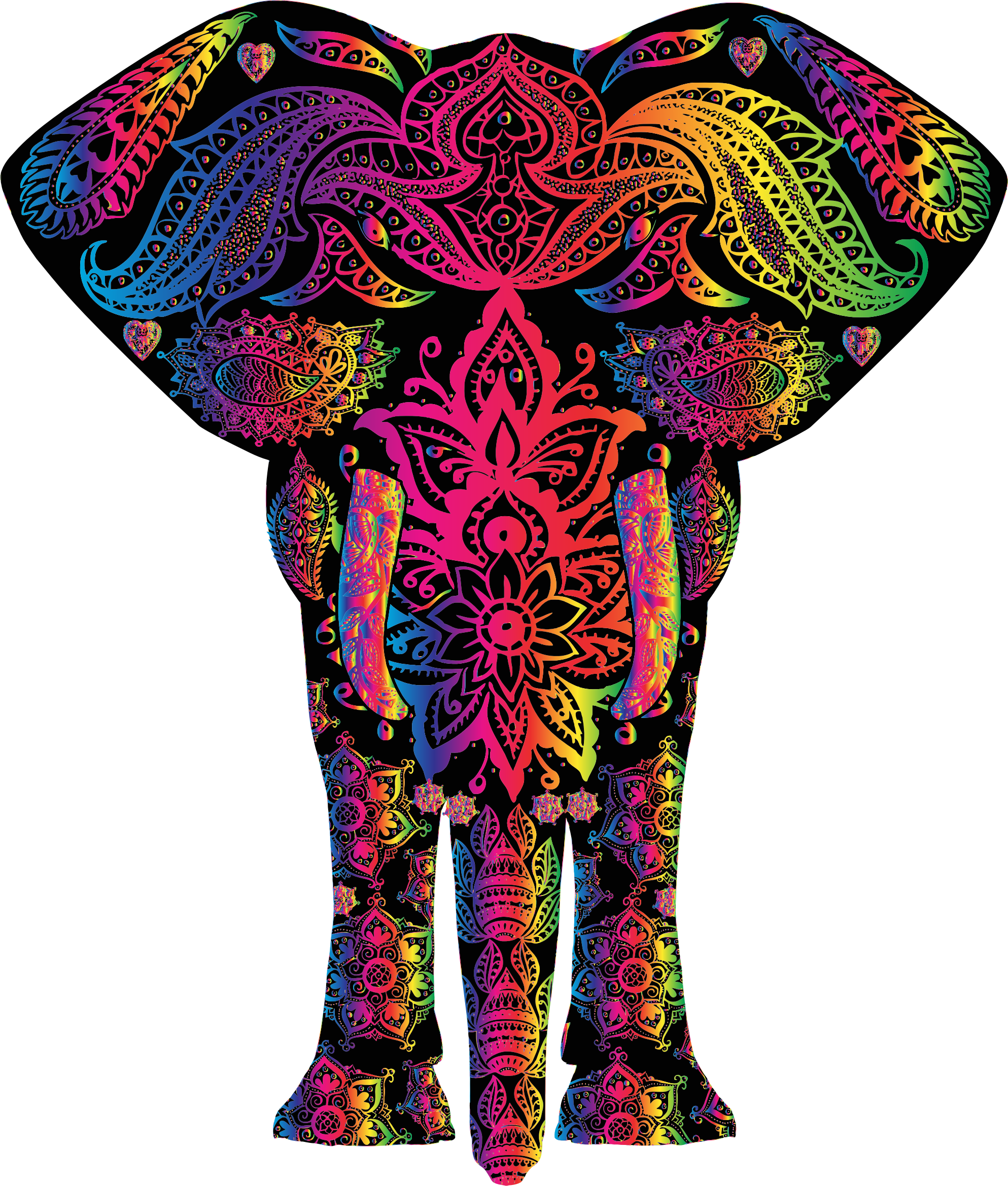 Tribal elephant png. Rainbow floral pattern icons