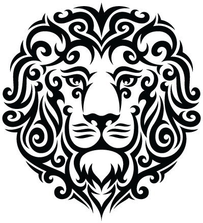 Tribal transparent face. Leo lion tattoo png