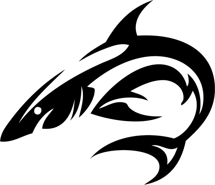 Tribal vector png. Shark tattoo isolated stock