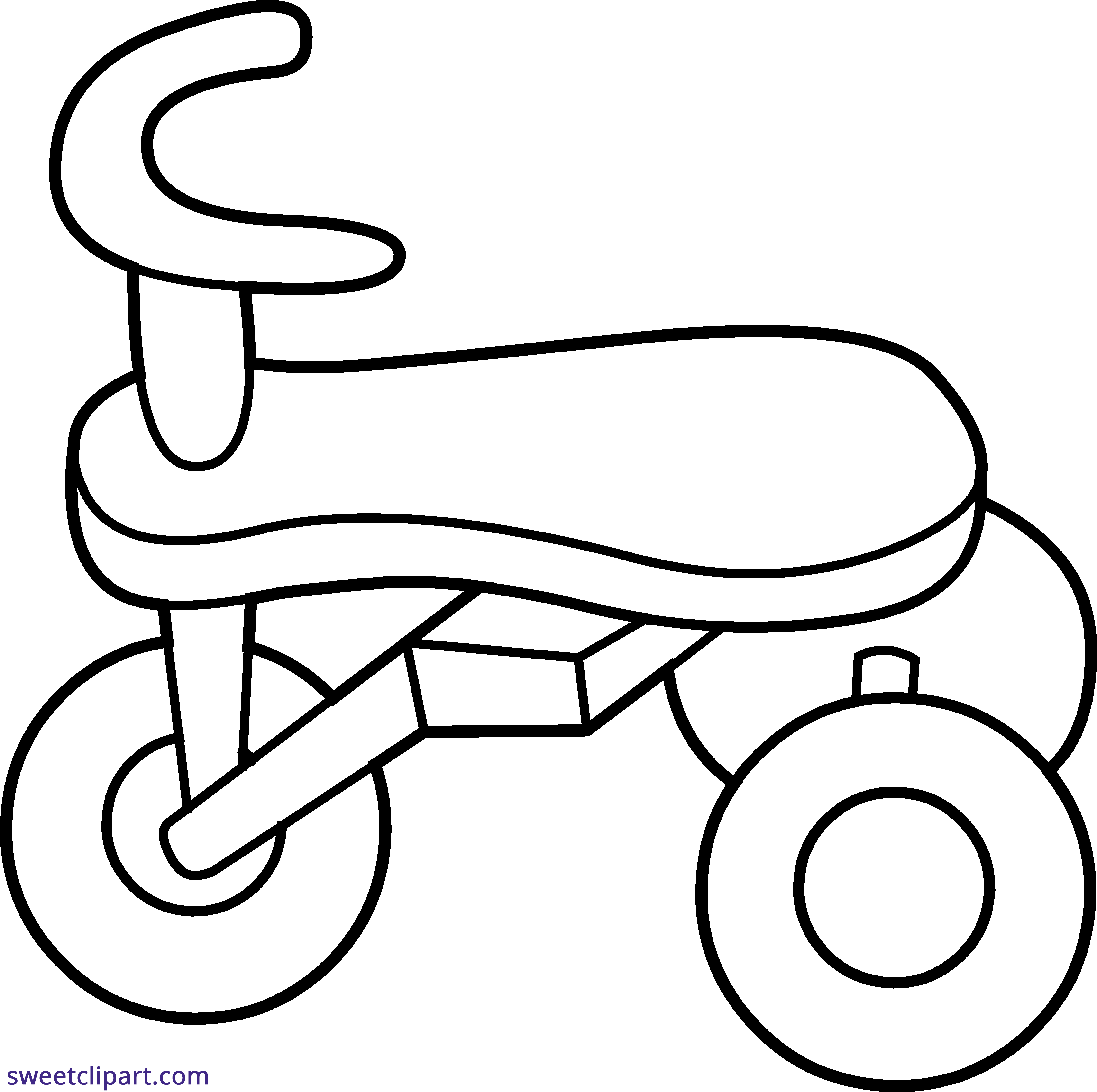 Tricycle clipart. Line art sweet clip