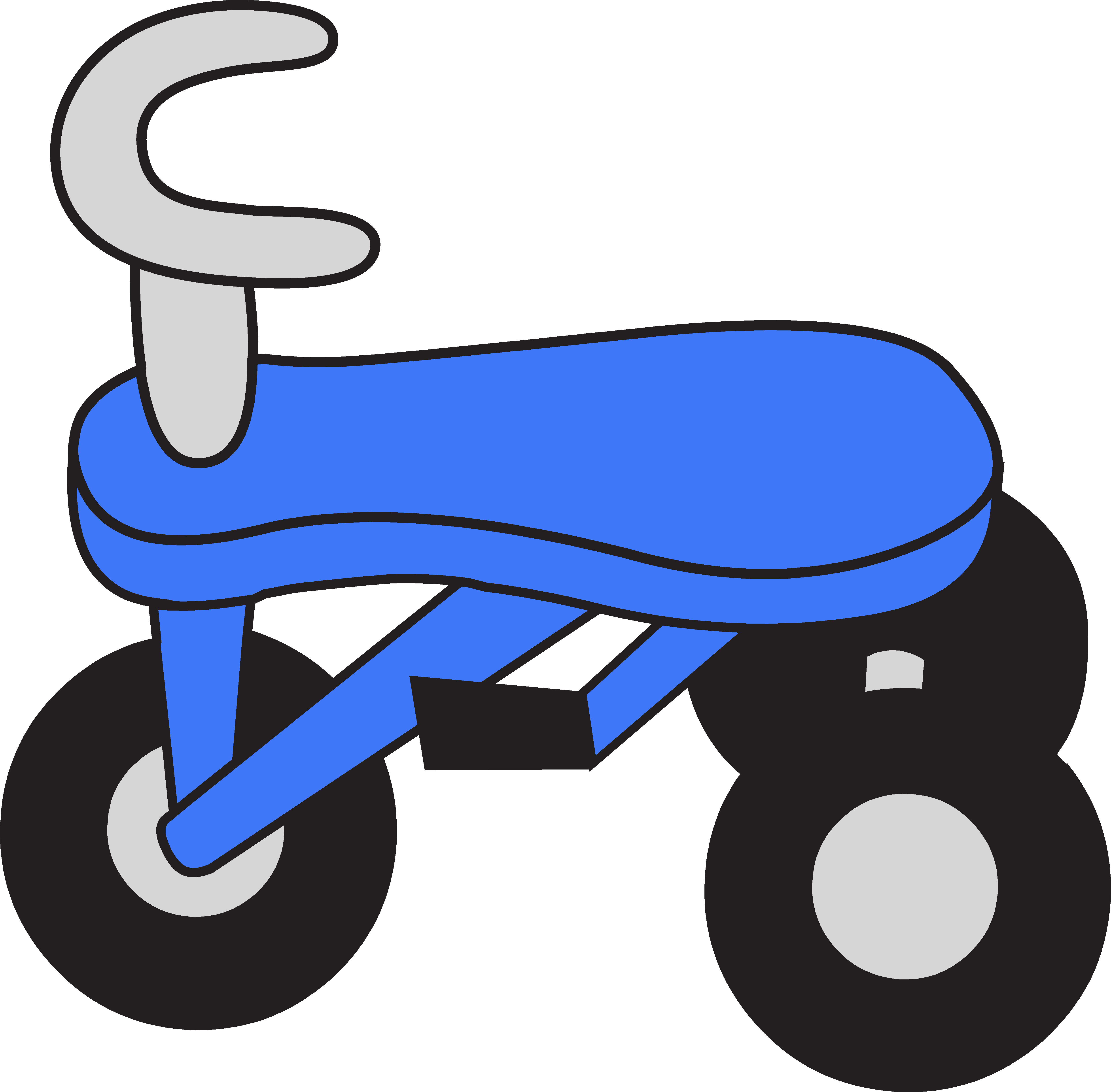 Small tricycle. Little blue clipart free