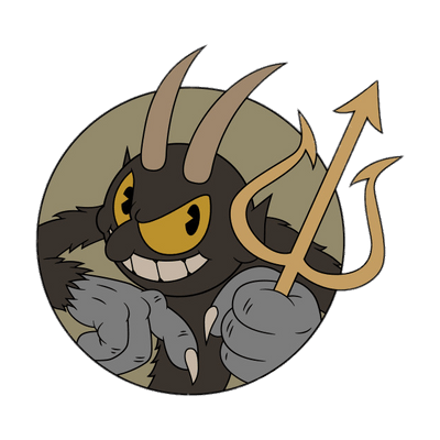 Trident clipart animated. Cuphead the devil holding