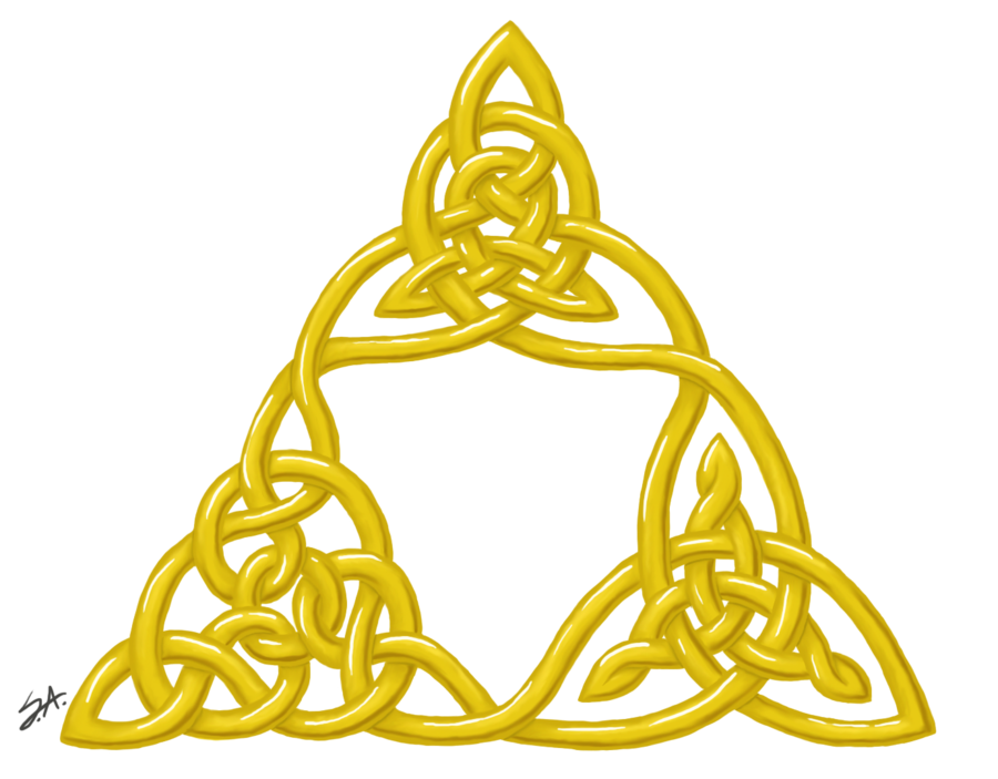 Triforce drawing. Knot by strange argument
