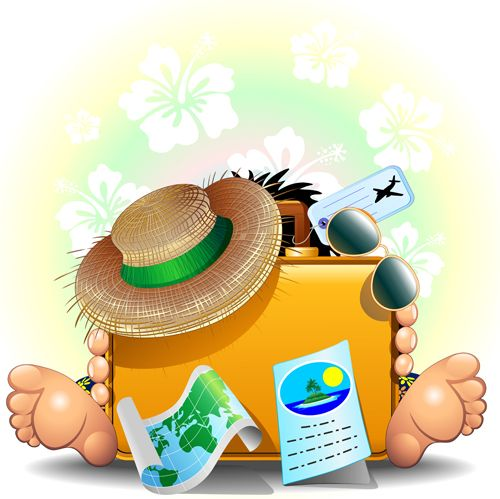 Summer travel with background. Trip clipart beach holiday clip art black and white stock