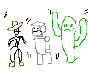 Tripping drawing. Cowboy robot cactus madly