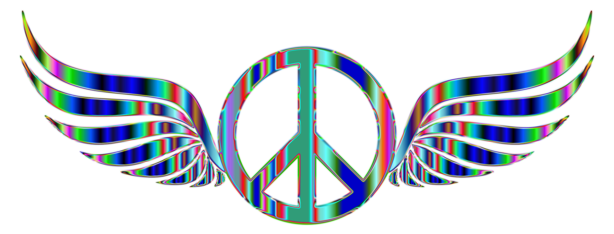 Trippy vector background. Gold peace sign wings