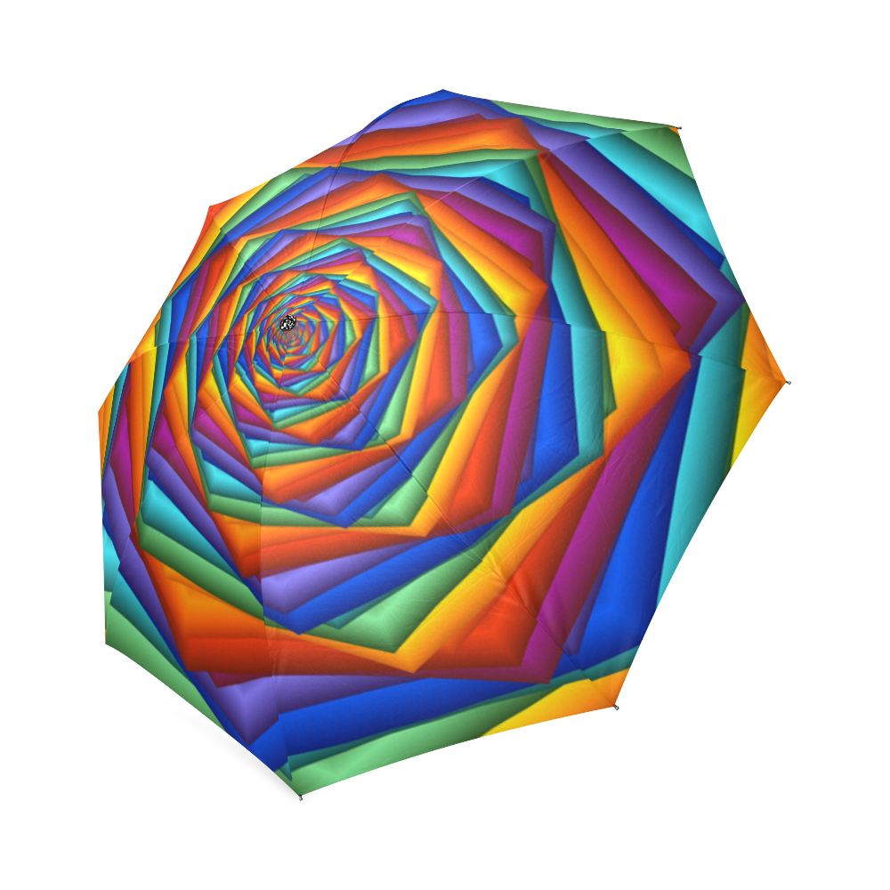 Trippy transparent rainbow moon. Psychedelic spiral umbrella foldable
