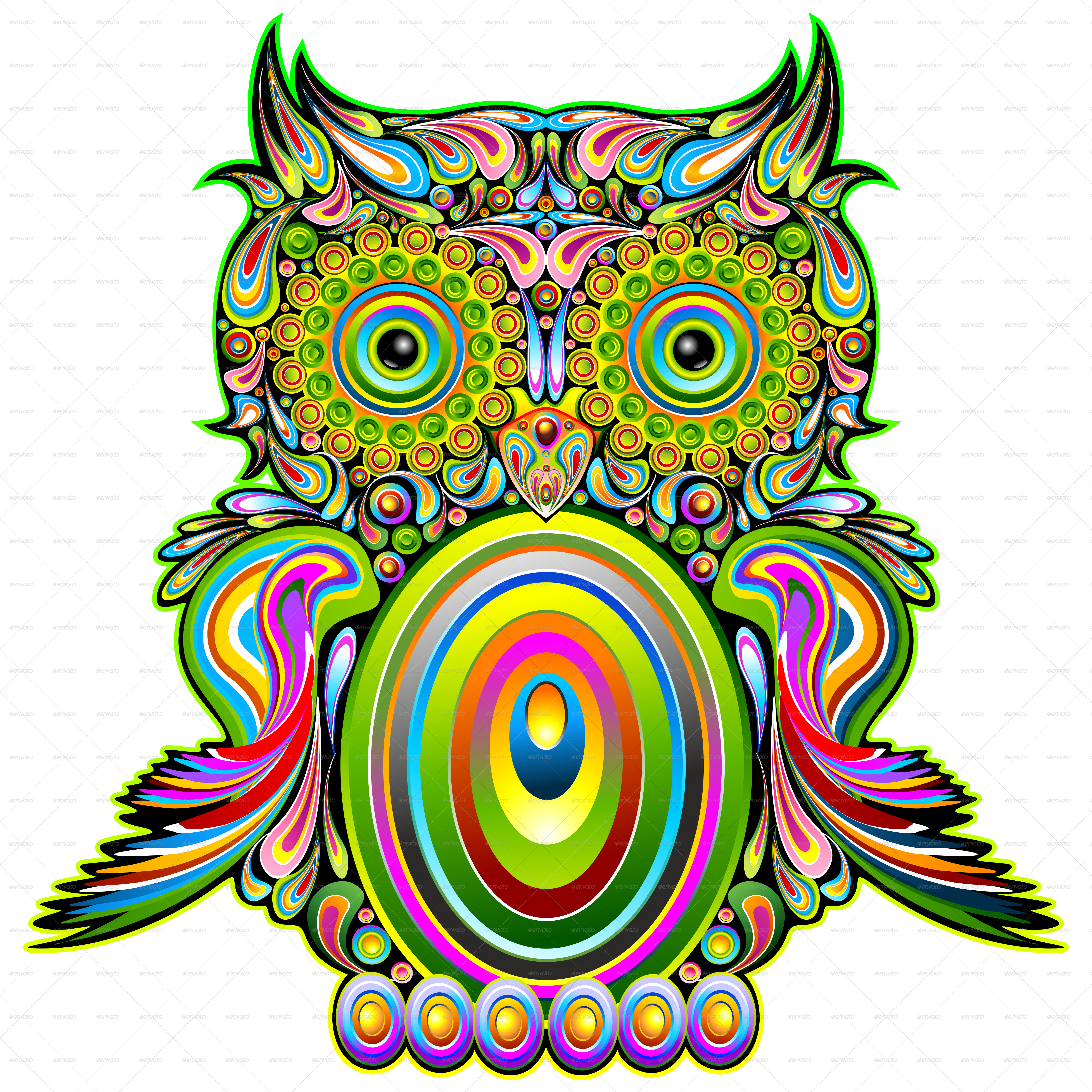 Owl psychedelic pop art. Trippy vector graphic library download