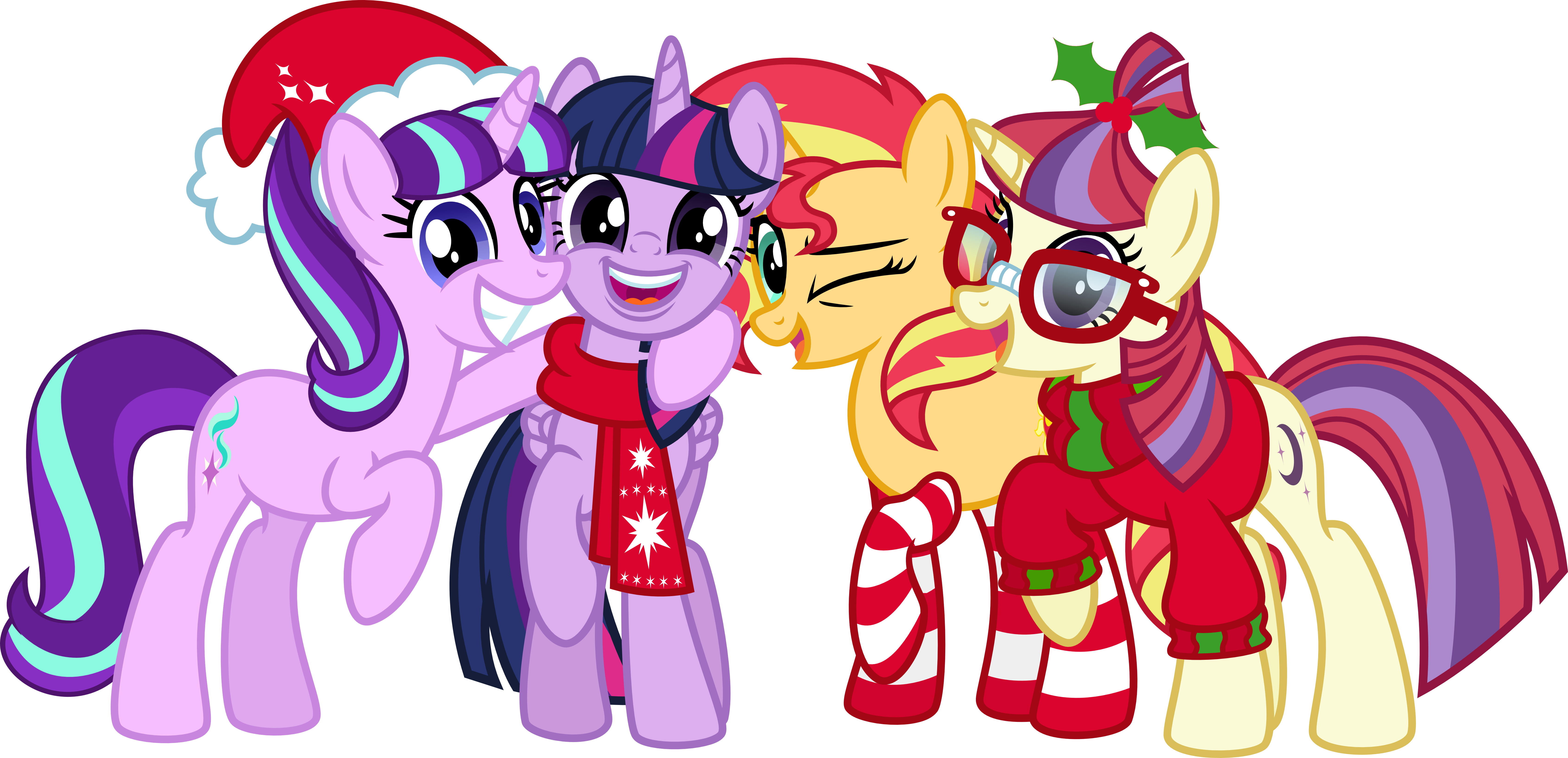 Trixie vector christmas. Merry and happy new