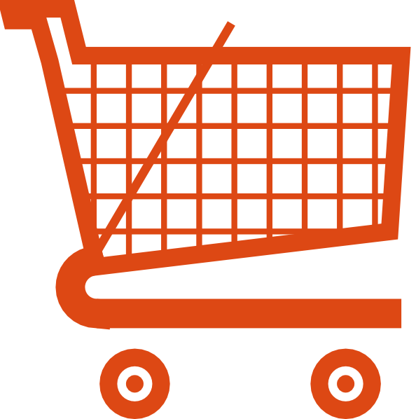 Trolley vector animated. Orange shopping cart clip