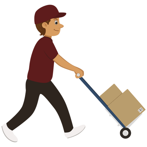 Trolley vector cartoon. Delivery man carrying transparent