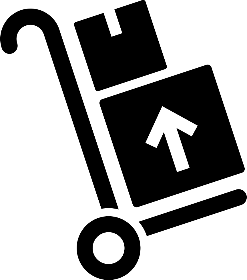 Trolley vector delivery. Packages on a svg