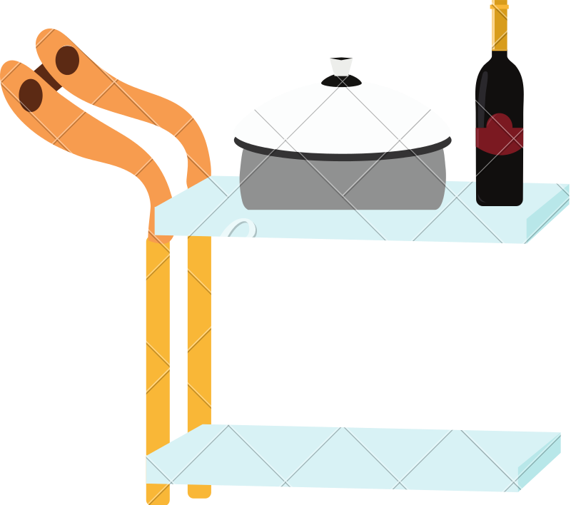 Trolley vector food. Illustration of cart or