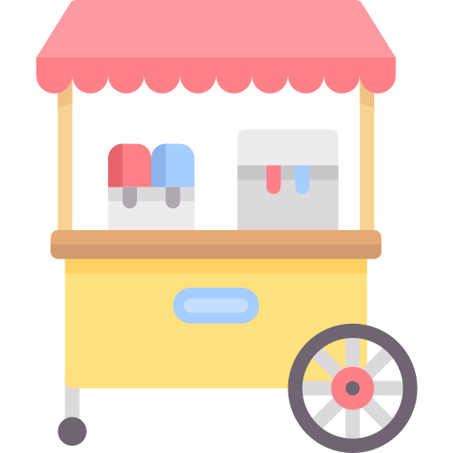 Trolley vector ice cream. Cart free food icons