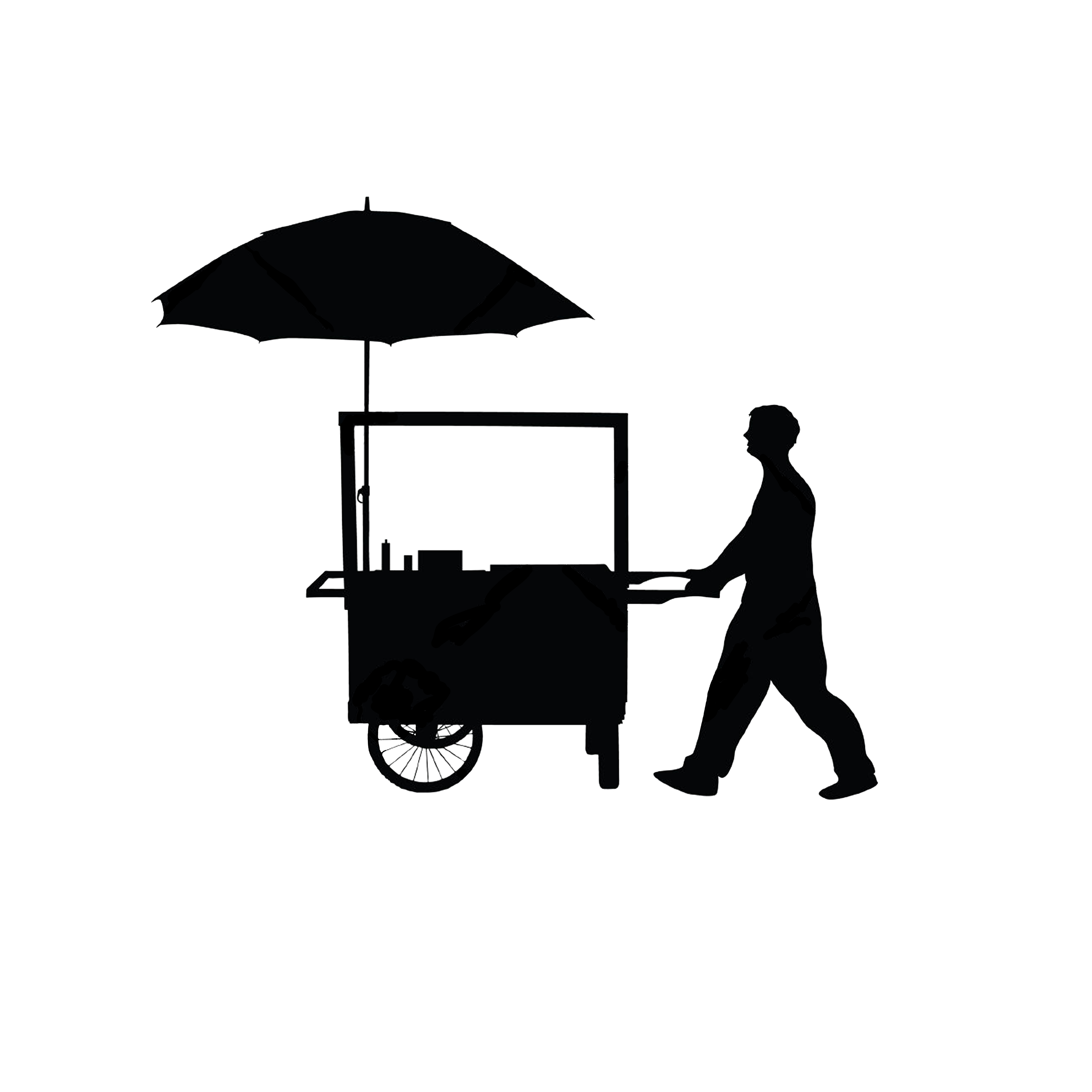 Trolley vector kart. Vendor with cart architecture