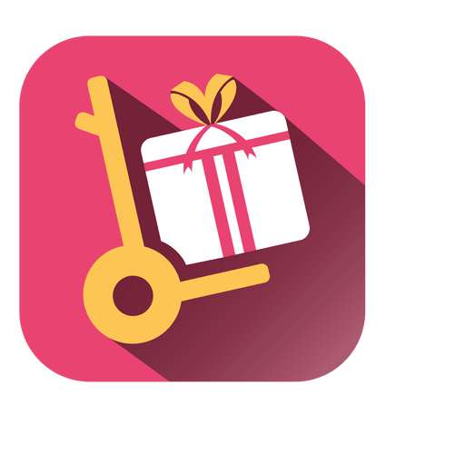 Trolley vector trolly. Gift square icon transparent