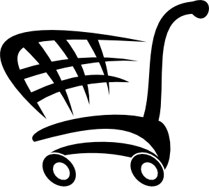 Trolley vector. Shopping cart clip art