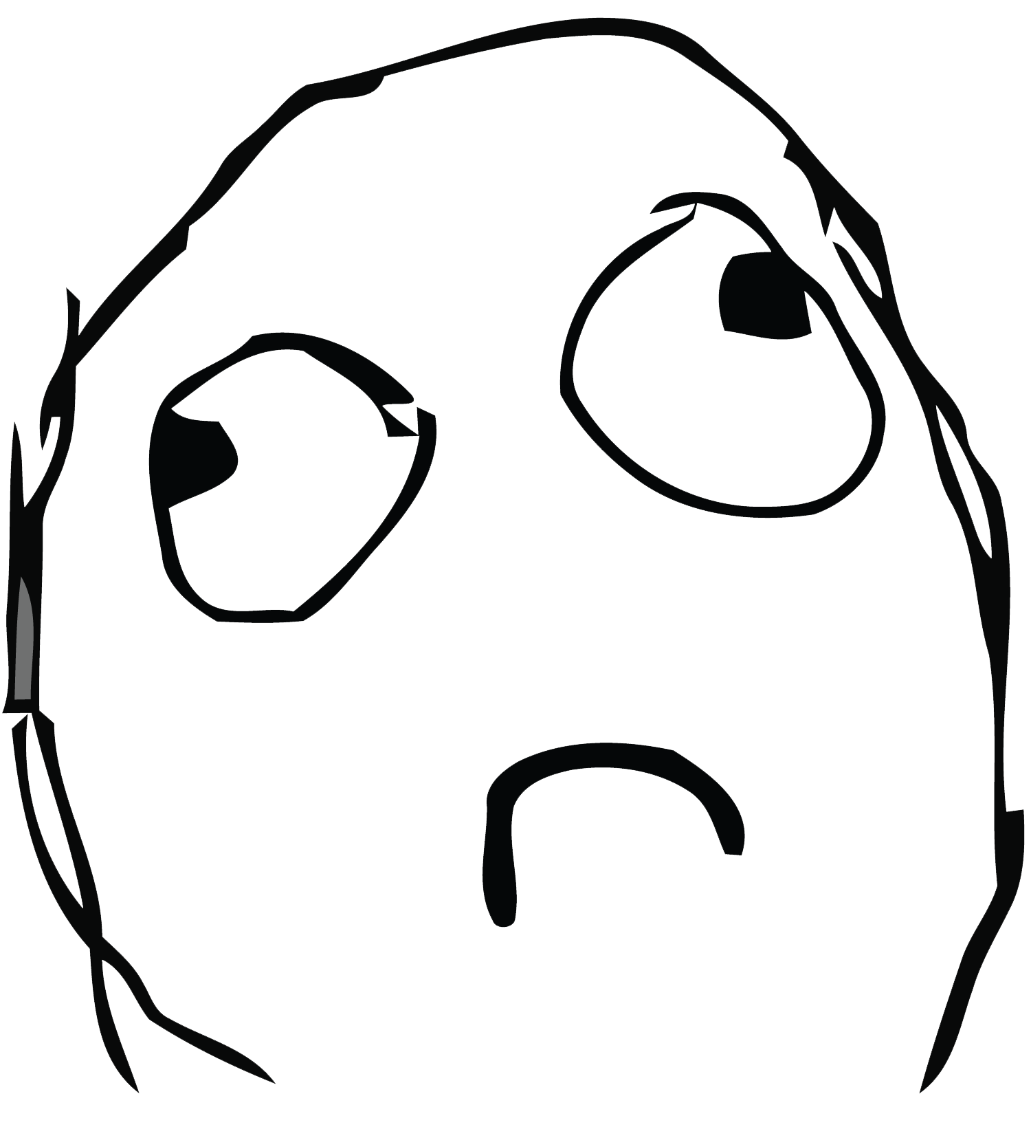 Simple sad troll face. Trollface png no background banner transparent
