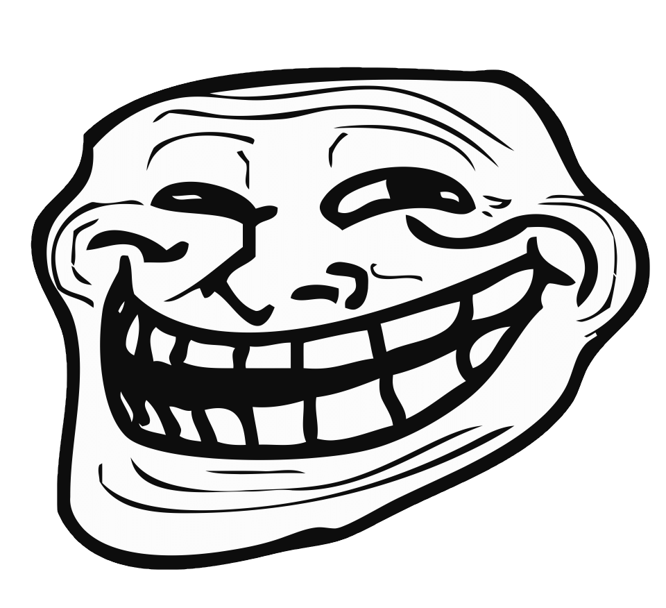 Trollface png transparent. Left troll face stickpng