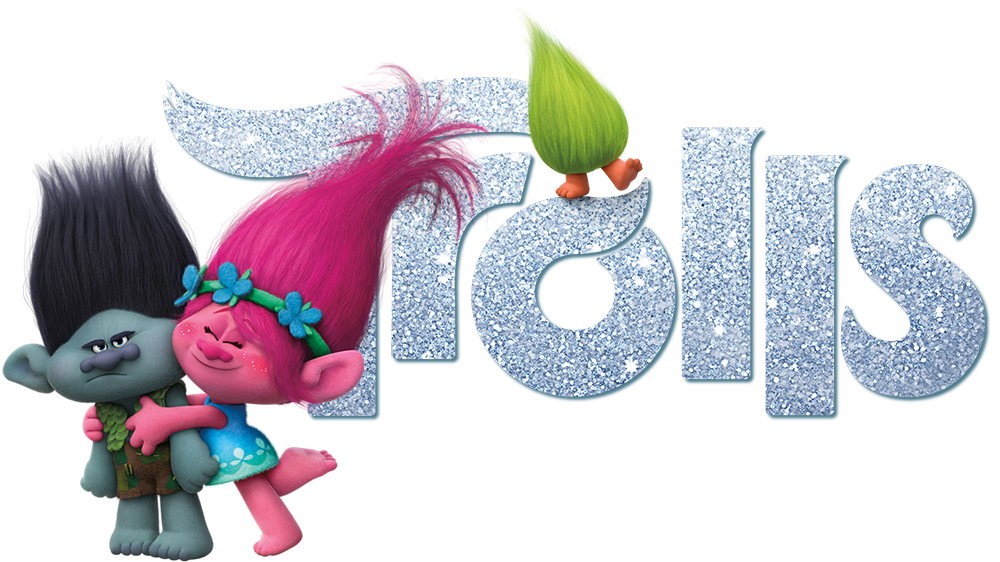Trolls background png. Movie with logo