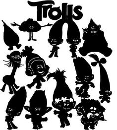 Trolls clipart silhouette. Poppy svg electronic cutting
