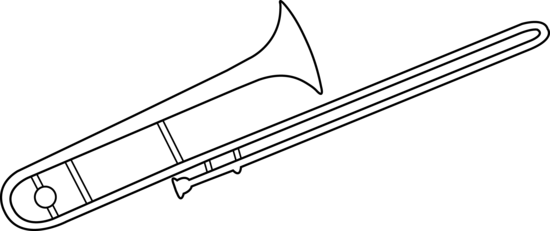 Trombone vector black and white. Clipart panda free images