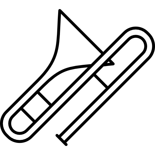 Trombone vector black and white. Big free music icons