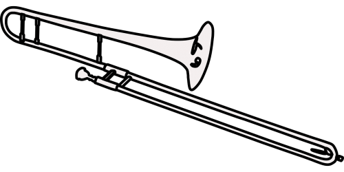 Trombone vector golden. Brass musical instrument instrumental
