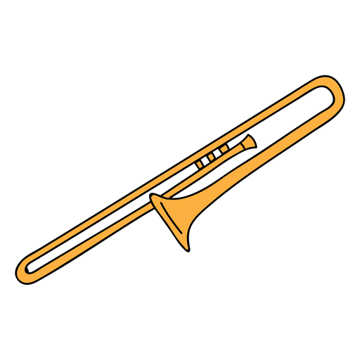 Trombone vector svg. Musical instrument doodle transparent