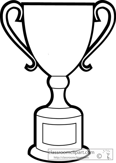 Trophy clipart drawing. Black and white