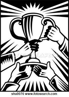 Trophy clipart drawing. Team holding